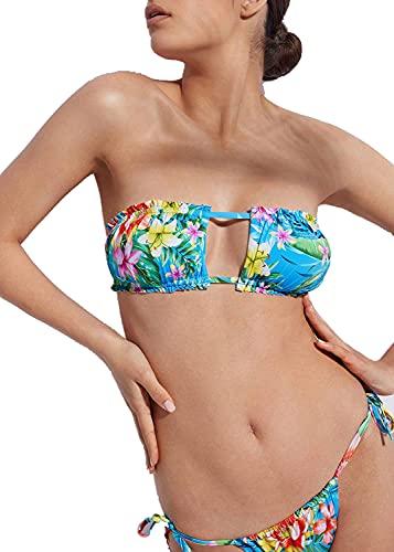 Calzedonia Honolulu - Parte superior de bikini tipo bandeau con copas correderas, - 364c - Floral Blue, 70C/75B/80A