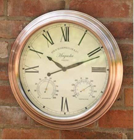 Garden Mile® Große 40 cm Kupfer-Wanduhr für den Innen- und Außenbereich, dekoratives Zaun-Ornament Thermometer Barometer wetterfest Wetterstation Küche Zuhause (Kupfer 40 cm Uhr)