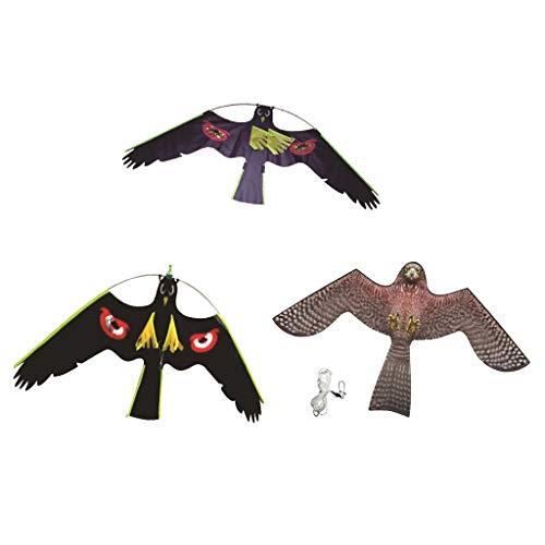 VANKOA 3er Drachenschnur Falke Lockvogel Vogelscheuche Gartenfigur, Fliegend Adler Lebensgroß Vogelschrecke Hawk Eagle Drachen Vogelabwehrmittel