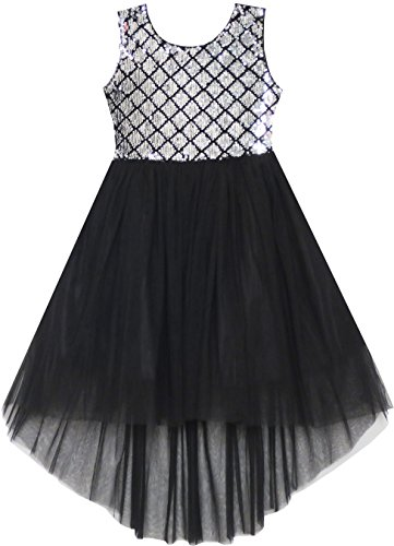 Sunny Fashion Mädchen Kleid Pailletten Masche Party Hochzeit Prinzessin Tüll Gr. 146