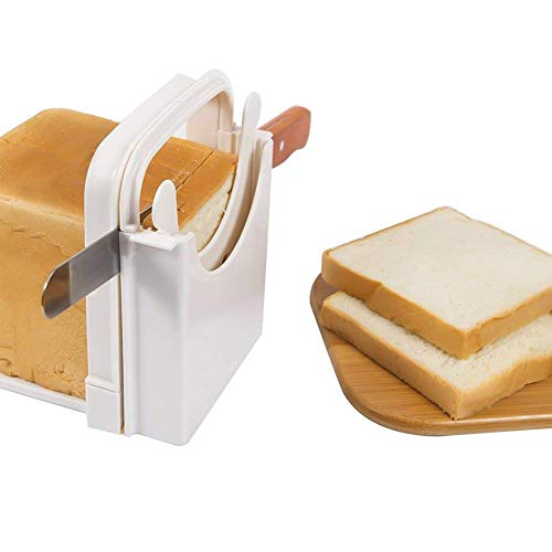 Guide Coupe-Pain, Toast Trancheuse Coupe, Sandwich Trancheuse Coupe, Trancheuse Pain Réglable, Trancheuse Pain Pliable, Trancheuse Pain Manuelle, Trancheuse Bagel, Bread Slicer, Pour Cuisine (Blanc)