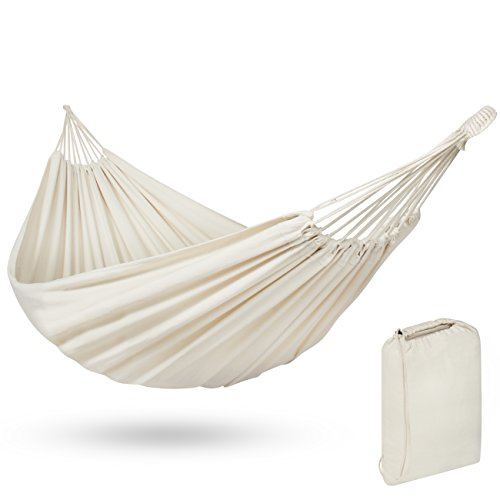 Best Choice Products 2-Person Brazilian Double Hammock Bed for Backyard, Patio, Indoor Outdoor Use w/ Carrying Bag, Cross-Woven Cotton Fabric - White