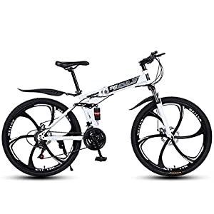 Mountain Bikes ZTYD 26″ 21-Speed Mountain Bike for Adult, Lightweight Aluminum Full Suspension Frame, Suspension Fork, Disc Brake,White,D