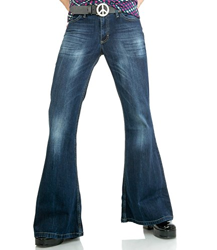Comycom Dunkelblaue Herren Jeans Schlaghose Star Burn, Dunkelblau, 36W / 34L