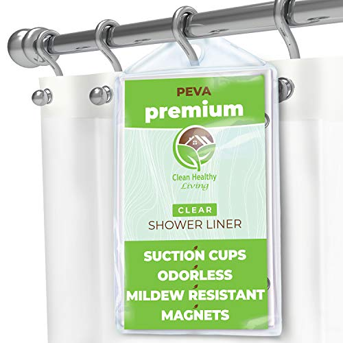 Clean Healthy Living Premium PEVA Clear Shower Curtain Liner with Magnets & Suction Cups - 70 X 71...
