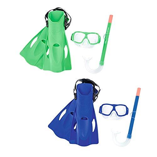 Set de Snorkel Gafas de Buceo con tubo de aire de silicona y aletas de natación para Snorkel Mar abierto, piscina o playa. Talla 37-41. Gafas de buceo y tubo con aletas para buceo natacion Color Verde