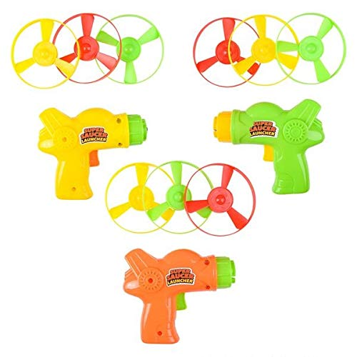 SRENTA 4quot Colorful Flying Super Saucer Launcher Set Spinning Shooter Flying Disc Toys for Children Fun Fly Toys for Indoors or Outdoors Pack of 12