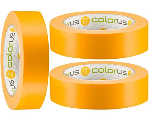 3 x Colorus Premium Goldband PLUS | Maler Abklebeband 30 mm x 50 m für extrem flache Farbkanten | Maler-Abdeckband 120 Tage UV-beständig | Malerband für Innen, Außen | Für Lack, Lasur, Farbe