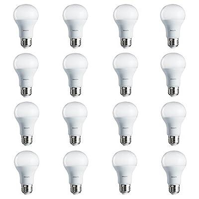 Philips LED Non-Dimmable A19 Frosted Light Bulb: 800-Lumen, 5000-Kelvin, 8.5-Watt (60-Watt Equivalent), E26 Base, Daylight, 16-Pack