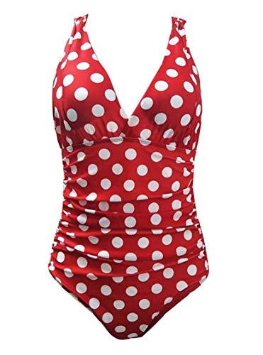 Badeanzug mit Push-Up-Polsterung, Einteiler, Bademode, Monokini, Größe 37-46 Gr. 52, rot / weiß