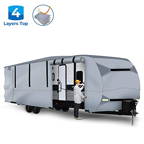 BougeRV Travel Trailer RV Cover Waterproof Lightweight RV Camper Cover