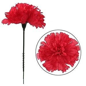 Larksilk Fuchsia Silk Carnation Picks, Artificial Flowers for Weddings, Decorations, DIY Decor, 50 Count Bulk, 3.5″ Carnation Heads with 5″ Stems