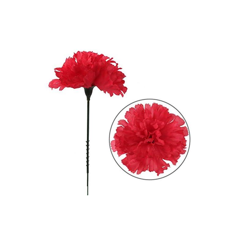 "silk flower arrangements larksilk fuchsia silk carnation picks, artificial flowers for weddings, decorations, diy decor, 50 count bulk, 3.5"" carnation heads with 5"" stems"