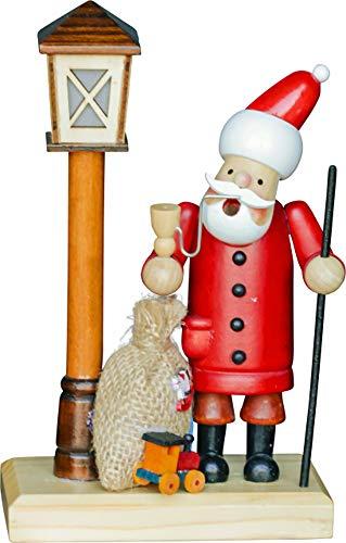 yanka-style - Bruciatore per affumicatura a Forma di Babbo Natale con Lanterna e LED, Illuminazione ca. 11 x 7 x 19 cm in Legno per Natale Avvento Regalo (30159-19)