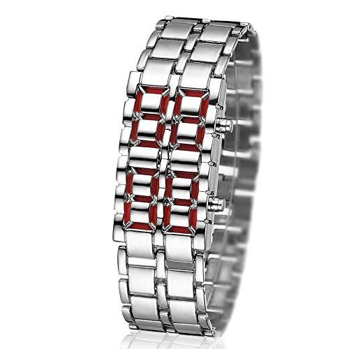 Powzz - Reloj inteligente para hombre con cadena de cinturón de acero, diseño coreano personalizado