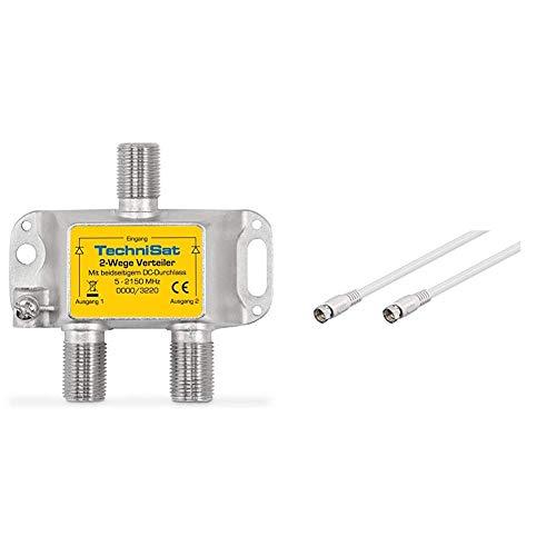 TechniSat 2-Wege Sat-Verteiler (diodenentkoppelter 2-Wege Verteiler, einsetzbar in TechniRouter-Anlagen) & Goobay SAT Anschluss Kabel (F-Stecker auf F-Stecker) 0,3m weiß