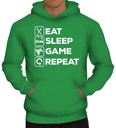 ShirtStreet Geschenkidee für Gamer Gaming Fans Herren Hoodie Männer Kapuzenpullover Controller - Eat Sleep Game Repeat, Größe: XL,Kelly Green