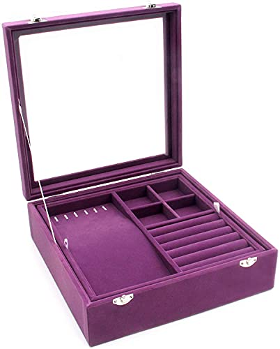 Recet Joyero doble con tapa de cristal, para mujer, caja de almacenamiento (lila)