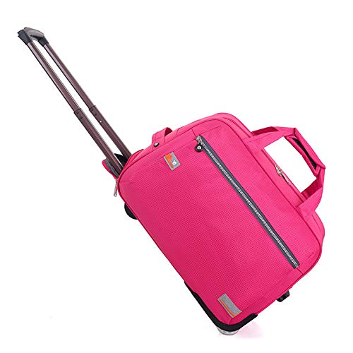 YLLHK Trolley Travel Bag, Large Capacity Foldable Wheeled Holdall, Water Proof Duffle Carry Bag, Suitable for Business University Campping Vacation,RoseRed,S