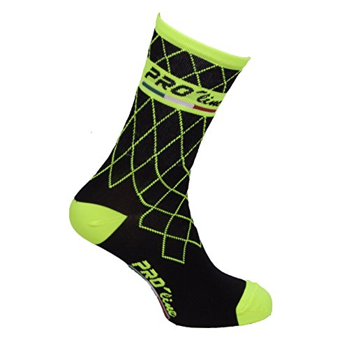 PRO' line Calze Calzini Ciclismo PROLINE Team Giallo Fluo Cycling Socks 1 Paio One Size New Line