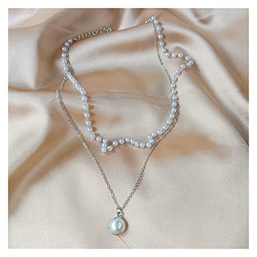 xilinshop Colgantes de Mujer Collar de Perlas de Moda Linda Colgante de Cadena de Doble Capa para Mujeres joyería niña Gargantilla Regalo Collar Colgante (Metal Color : Silver Color)