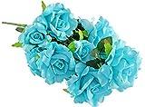 Home-X Ramo de rosas artificiales, 12 rosas azules, rosas para ramos de novia, centros de mesa de boda, hogar, oficina, fiestas, decoración de boda y boda, 53 cm de largo