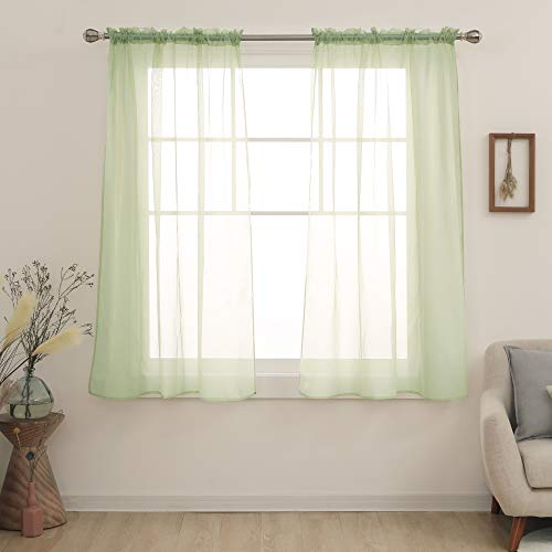 Deconovo Green Sheer Curtains 63 Inch Length-Rod Pocket Voile Drape Sheer Curtains for Bedroom 54x63 Inch Sage Green 2 Panels