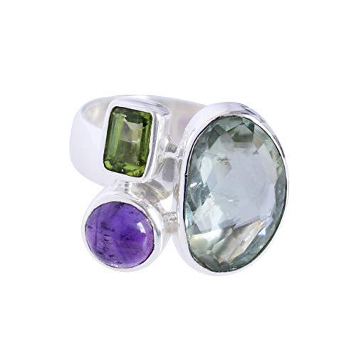 Ravishing Impressions Jewellery Mujer Unisex Plata fina 925 plata de ley Fancy ,Rectangle & Round-Shape Amatista verde y amatista