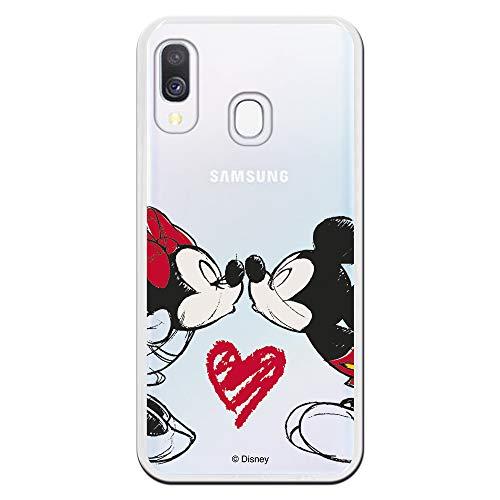 LA CASA DE LAS CARCASAS Carcasa Oficial Mickey Y Minnie Beso Clear para Samsung Galaxy A40