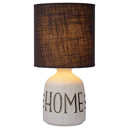 Dekorative Shabby Chic Landhaus Tischlampe, Tisch-leuchte & Nachttischlampe E14 Wohnzimmer Schlafzimmer Weiß Keramik Stoff
