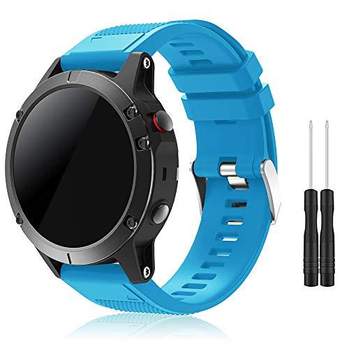 Garmin Fenix 5 Banda, TOPsic Silicona Reemplazo Correa con 2pzs Destornilladores para Garmin Fenix 5 / Forunner 935 Smart Watch, 13.5cm-22.5cm, no Adapta a Fenix 5x, 5s (azul)
