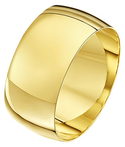Theia Unisex Heavy Weight 10 mm D Shape 9 ct Yellow Gold Wedding Ring - V