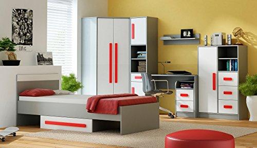 QMM TraumMöbel Jugendzimmer Kinderzimmer komplett Grant Set B in 5 Farben Schrank Bett Schreibtisch Kommode Regale NEU