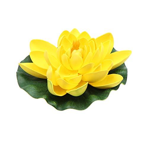 Yardwe New 1 Stück Künstliche Schwimmende Seerose Simulation Lotus Blumenteich Decor 18 cm Gelb