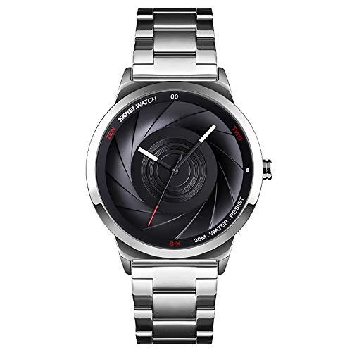 WJLED Reloj Creativo para Hombres, Reloj de Cuarzo de Moda, dial Vortex, Caja de aleación, Reloj de Cuarzo Resistente al Agua para Estudiantes,Blanco