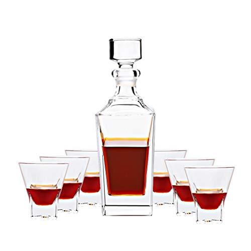 Xuan - worth having Copas de Vino Copa de Vino 6 7 Piezas de Estilo Europeo Cubierto Exfoliante Botella de Vino Tinto Decantador para el hogar Copa de Whisky en casa Juego