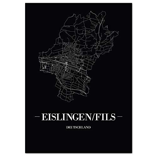 JUNIWORDS Stadtposter, Eislingen/Fils, Wähle eine Größe, 30 x 40 cm, Poster, Schrift A, Schwarz