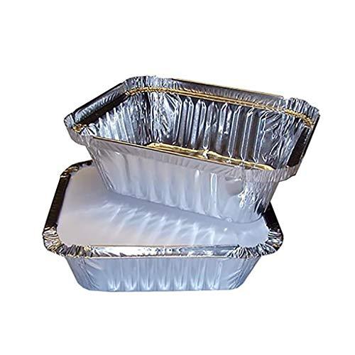 50PCS Aluminiumfolienbox Backblechboxen Silberfolie Lebensmittelschalen Geschirrbehälter mit Deckel