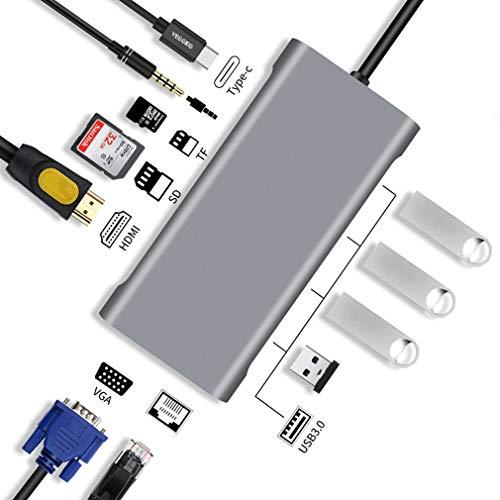 Hub USB C 11 En 1 Adaptador USB C con HDMI 4K 3 USB 3.0 1 Puertos Tipo C Micro SD Y SD Lector De Tarjetas RJ45 Puerto De Audio De 3.5 Mm para Macbook Samsung Huawei Otros USB C Dispositivos