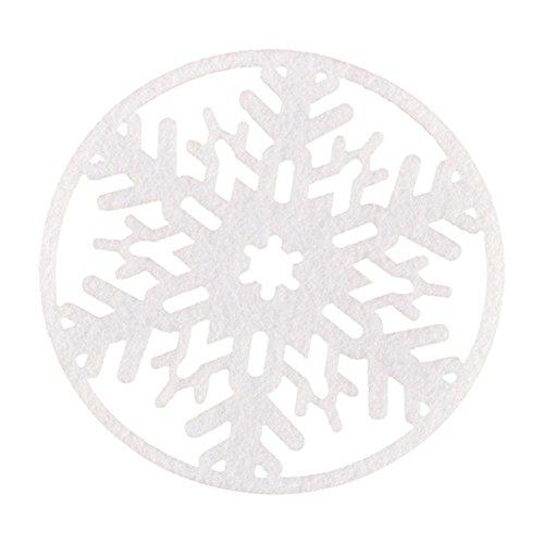 Cosanter 2 X Noël Flocons de neige Dessous de Verre en Non-Tissés Multifonctionnel Tapis de Tasse Rond Sous-Verres pour Restaurant et à la Maison