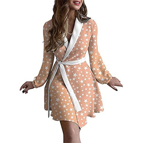 Y.H Pijamas para mujer, ropa de dormir suave y acogedora, con cinturn de albornoz para mujer, rosa, 3XL
