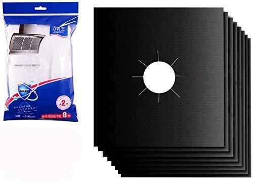 Tang Yuan 6 piezas de cubierta de estufa de gas y 2 piezas de filtro de campana extractora,protector de estufa de gas,reutilizable para limpieza de cocina