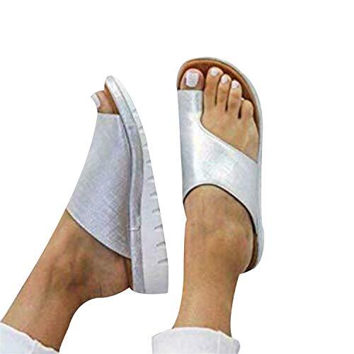 Chickwin Sandalias Mujer Cómodos Cuña con Plataforma, Zapatos de Verano Planas Bohemias Elegant Playa Moda Fiesta Cuero Slingback Peep Toe Talla Grandes