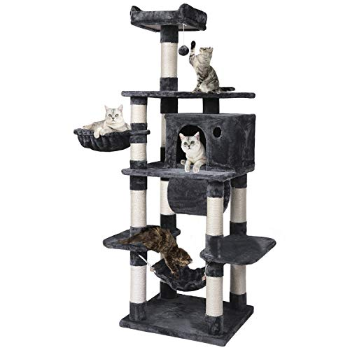 YAHEETECH 69.5in Multi-Level Cat Tree Tower Condo Furniture with Sisal-Covered Scratching Posts, Plush Condos, Cozy Basket and Perch Hammock for Kittens Pet House Play