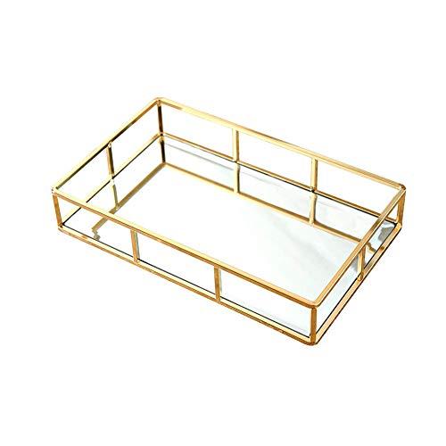 Bandeja de almacenamiento de metal con espejo dorado, bandeja para perfume, bandeja para cosméticos, bandeja de metal decorativa, bandeja de maquillaje para baño, dormitorio 1 pieza S