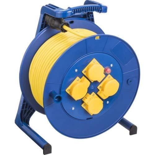 JUMBO® L Kabeltrommel mit 4 Steckdosen H07RN-F Querschnitt 3 x 1,5 mm², Leitungsfarbe gelb, Länge 40 m, Farbe Trommel/Gestell blau