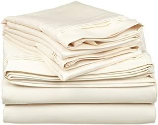 SGI bedding Short Queen Sheets Luxury Soft 100% Egyptian Cotton - Sheet Set for Short Queen Mattress Ivory Solid 600 Thread Count Deep Pocket