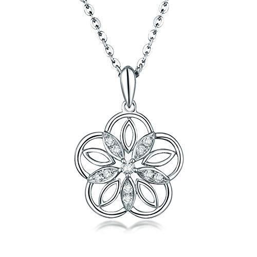 Beydodo Kette 18 Karat Weißgold 750 Damen, Blume mit 0.1ct Diamant Anhänger Halskette Weißgold Charms