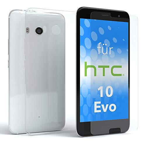 EAZY CASE Silikonhülle und Panzerglas im Set für HTC Evo 10 I Bildschirmschutzglas, Panzerglas nur 0,3 mm 9H Härte, Schutzhülle Ultra dünn, Silikon Hülle, Backcover, Transparent/Kristallklar