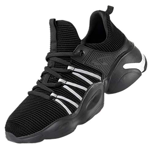[AKIMOTO] 安全靴 作業靴 スニーカー メンズ レディース スポーツ ハイカット 超軽い 鋼先芯 通気 ミッドソール ワークシューズ ブラック 28cm
